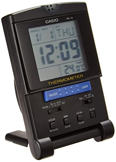 Casio PQ15-1K Travel Alarm Clock with Thermometer