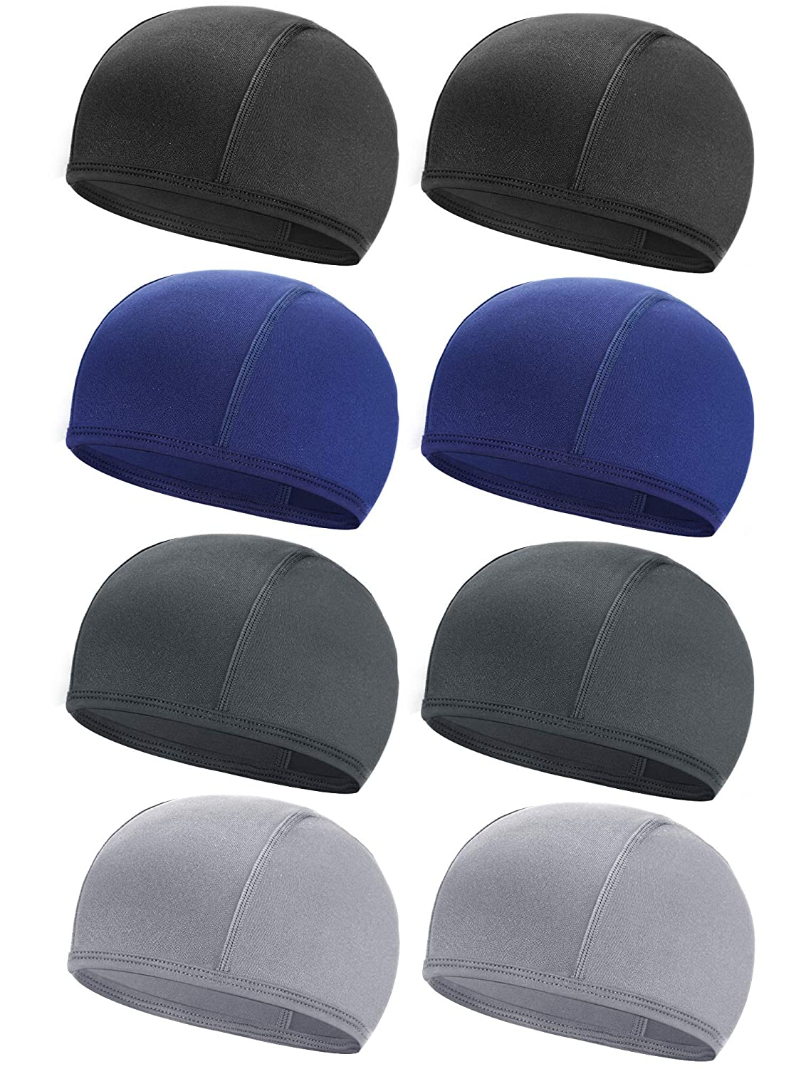 SATINIOR 8 Pieces Cycling Skull Cap Cooling Helmet Liner Sweat Wicking Cap Running Beanie Hats for Sports Exercise Using