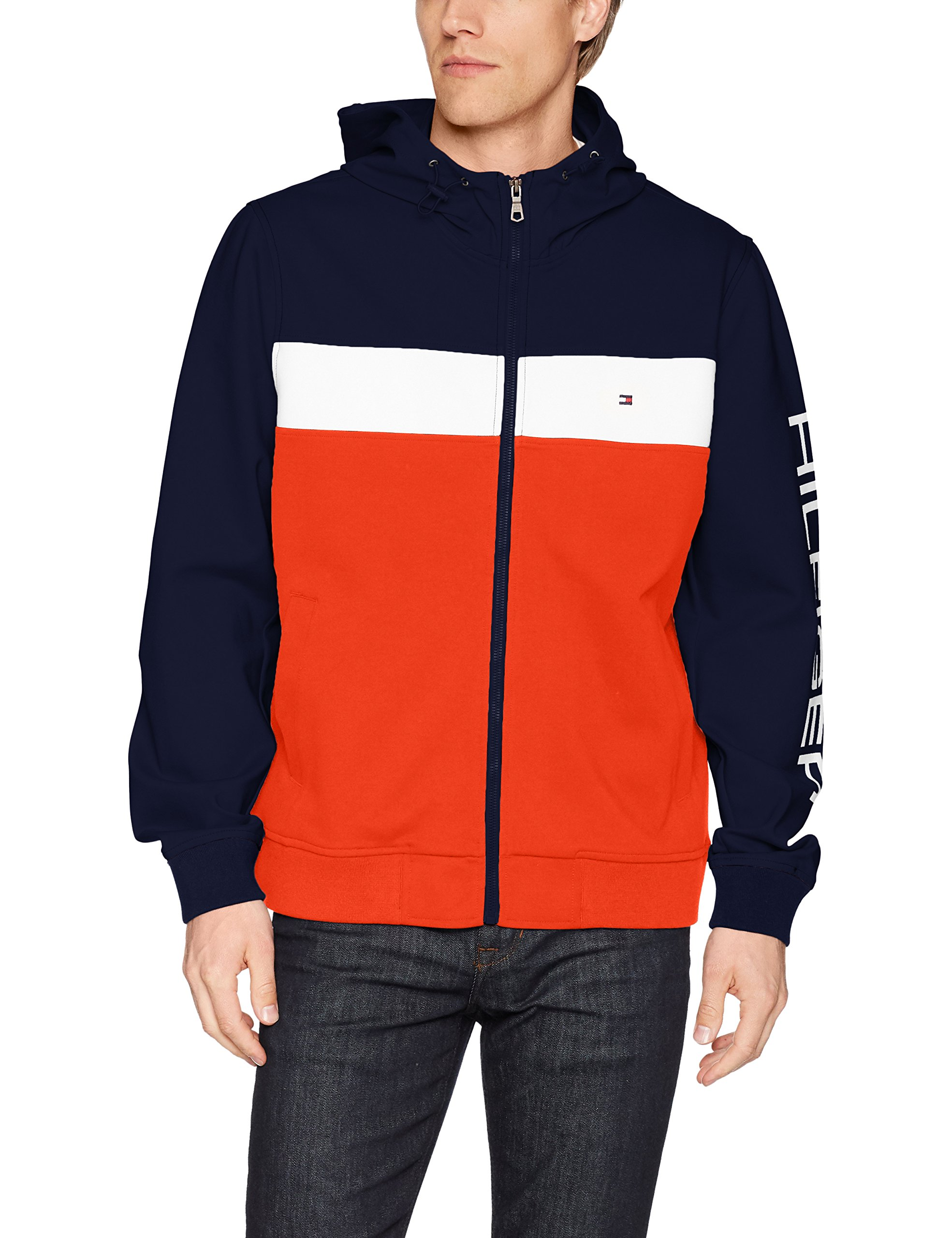 Tommy Hilfiger Men's Retro Colorblocked Hooded Track Jacket, Navy/White/Orange w. Contrast Zipper, Medium by Tommy Hilfiger