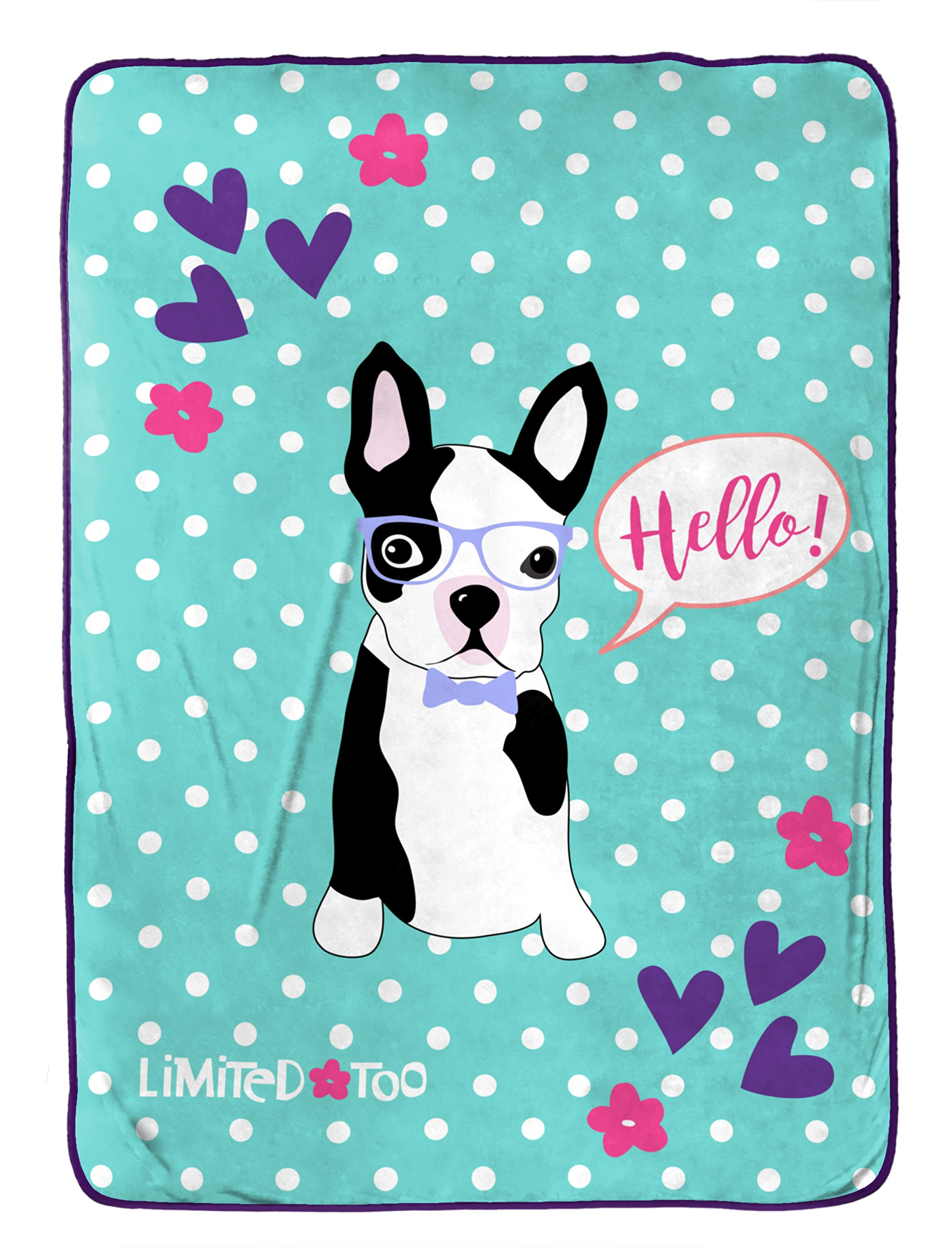 Limited Too French Bulldog Plush Twin 62'' x 90'' Blanket