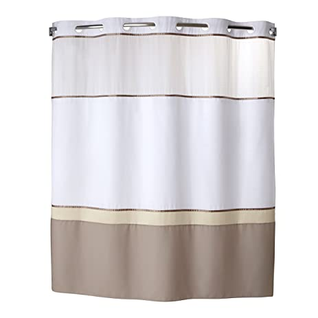 Hookless RBH40MY025 Color Block Shower Curtain With Peva Liner