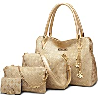 PU Leather Shoulder Bags for Women - Shoulder Bags, Crossbody Bag, Handbag & PouchCard Holder Combo Set (Golden) - Hand Bags for Ladies (Golden) - Set of 4