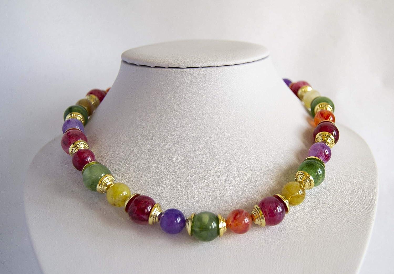 Collar estilo vintage de piedras lucitas de colores Envío GRATIS 72h