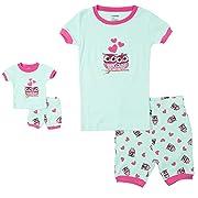 Leveret Shorts Kids & Toddler Pajamas Matching Doll & Girls Pajamas 100% Cotton Pjs Set (Owl,3 Toddler)