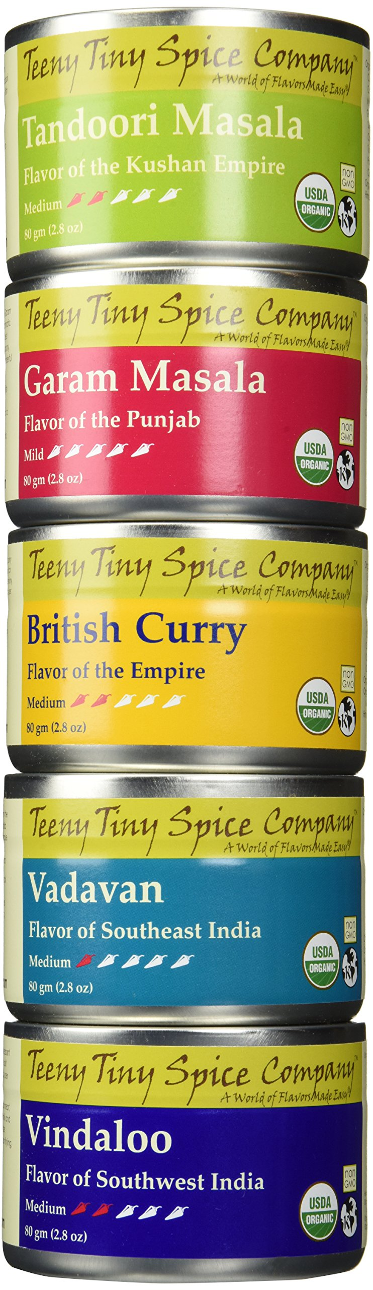 Teeny Tiny Spice Company Organic Indian Spice Blends Variety Pack, Five 2.8 Oz Tins