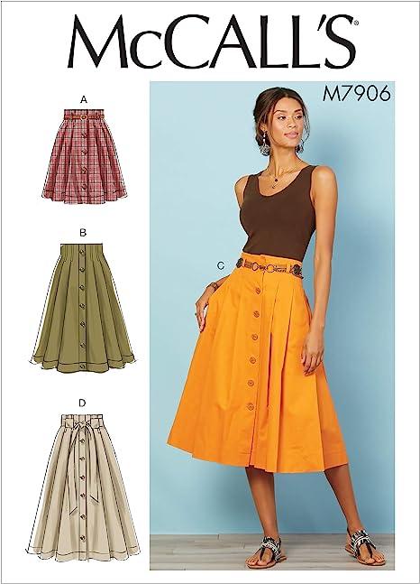 McCalls M7906 - Patrones de costura para faldas de mujer (talla ...