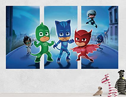 Pj Masks Gekko CatBoy Owlette Battle 3D Sticker Wall Decal Smashed Vinyl Decor Mural Kids -