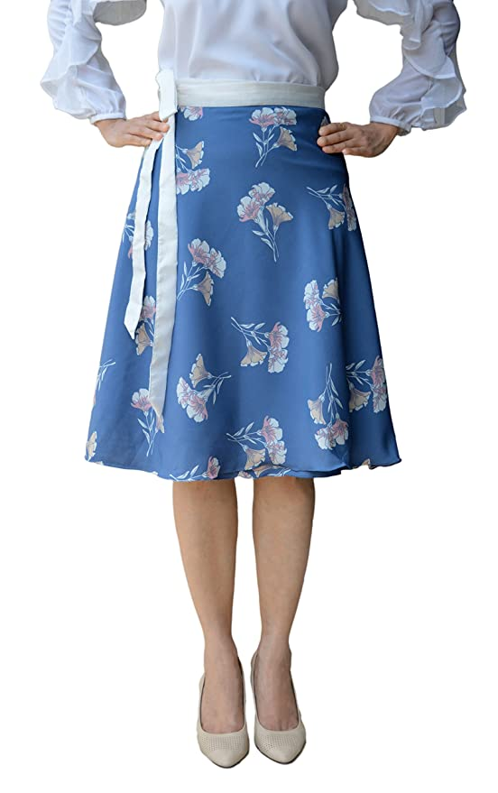 7d01267d24 DeeVineeTi Women's Crepe Floral Print Wrap-Around Skirt (WA000092, Blue,  Freesize): Amazon.in: Clothing & Accessories