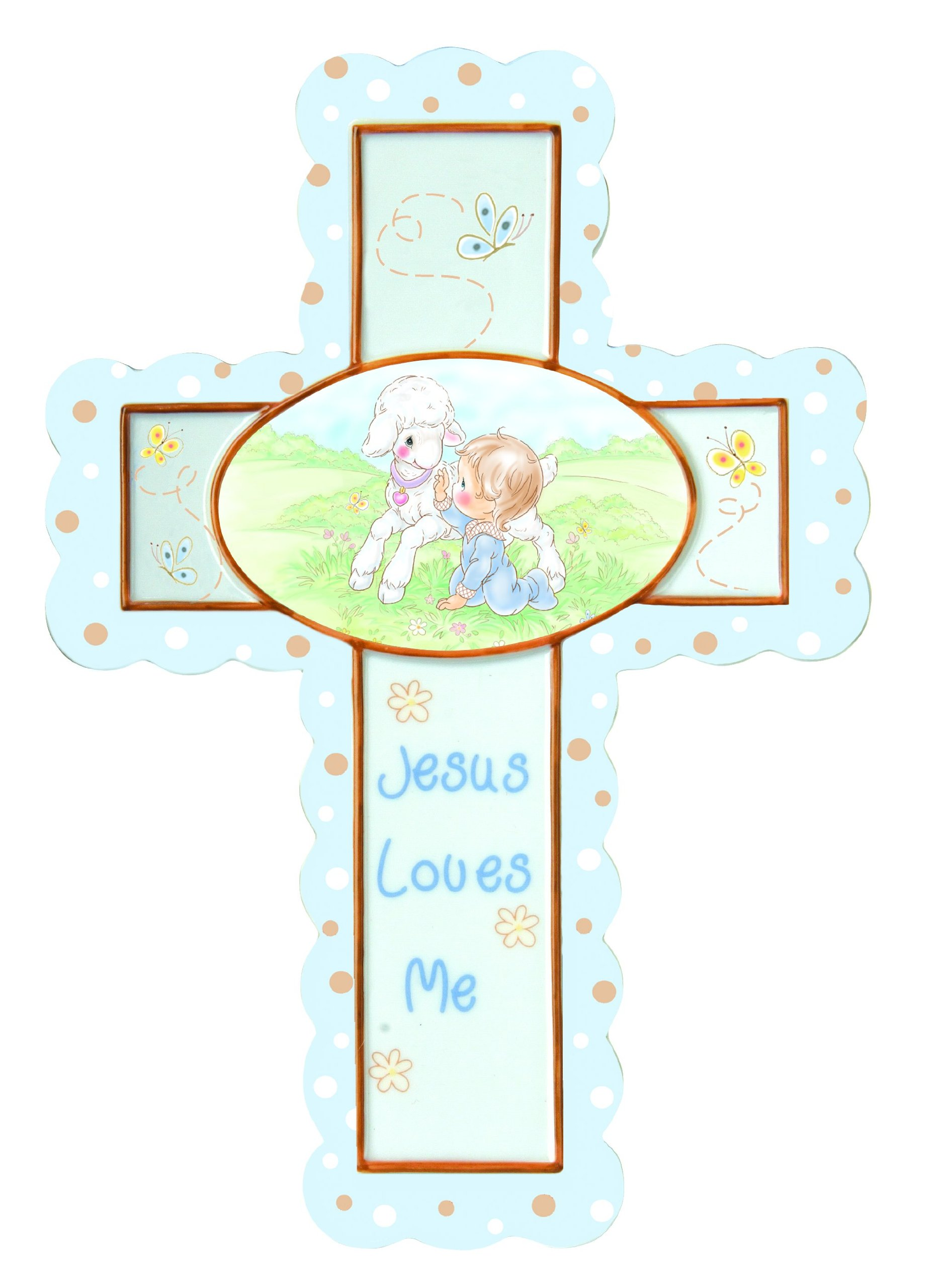 Precious Moments Porcelain Cross with Stand, Jesus Loves Me, Boy