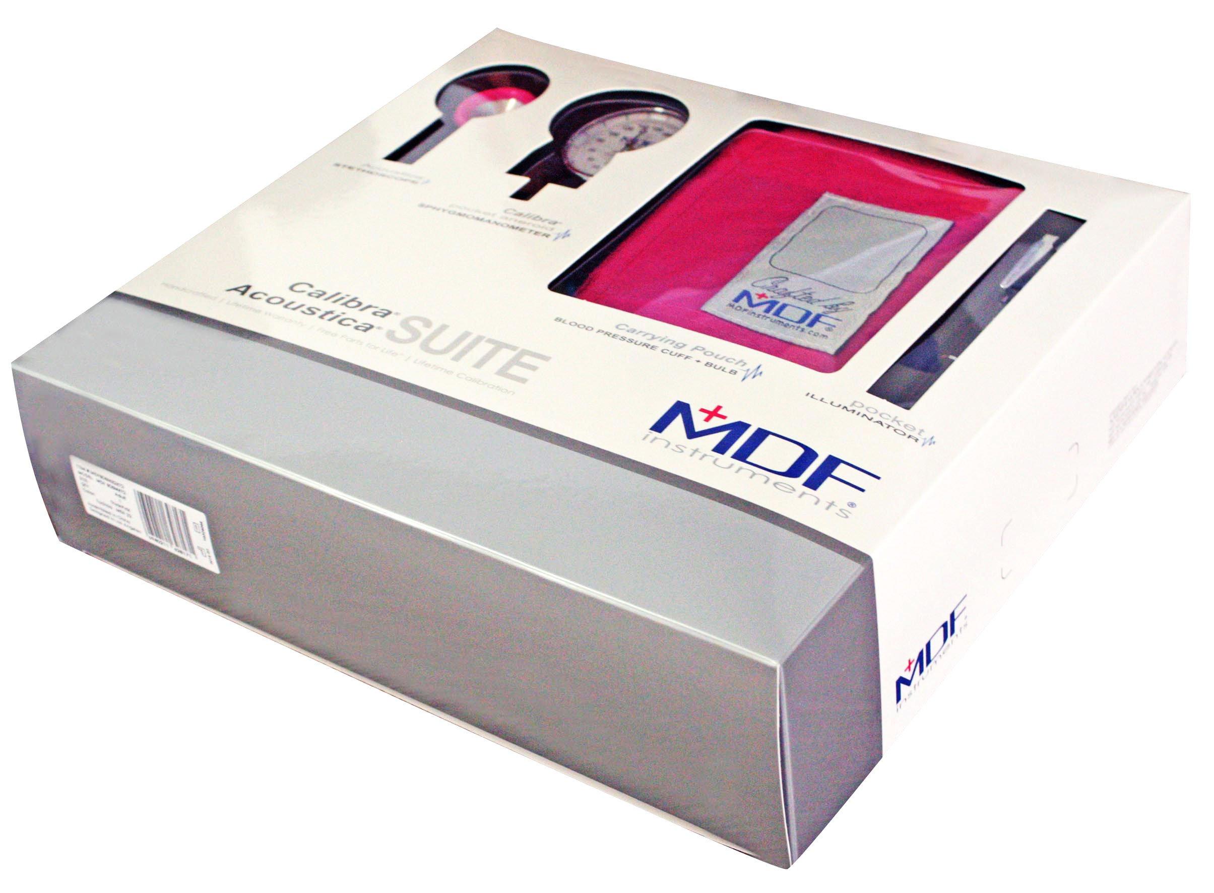 MDF Acoustica Deluxe Lightweight Dual Head Stethoscope, MDF Calibra Aneroid Sphygmomanometer, MDF POCKET iLLUMiNATOR Medical Professional Diagnostic Penlight - Fuchia (ThinkPink)