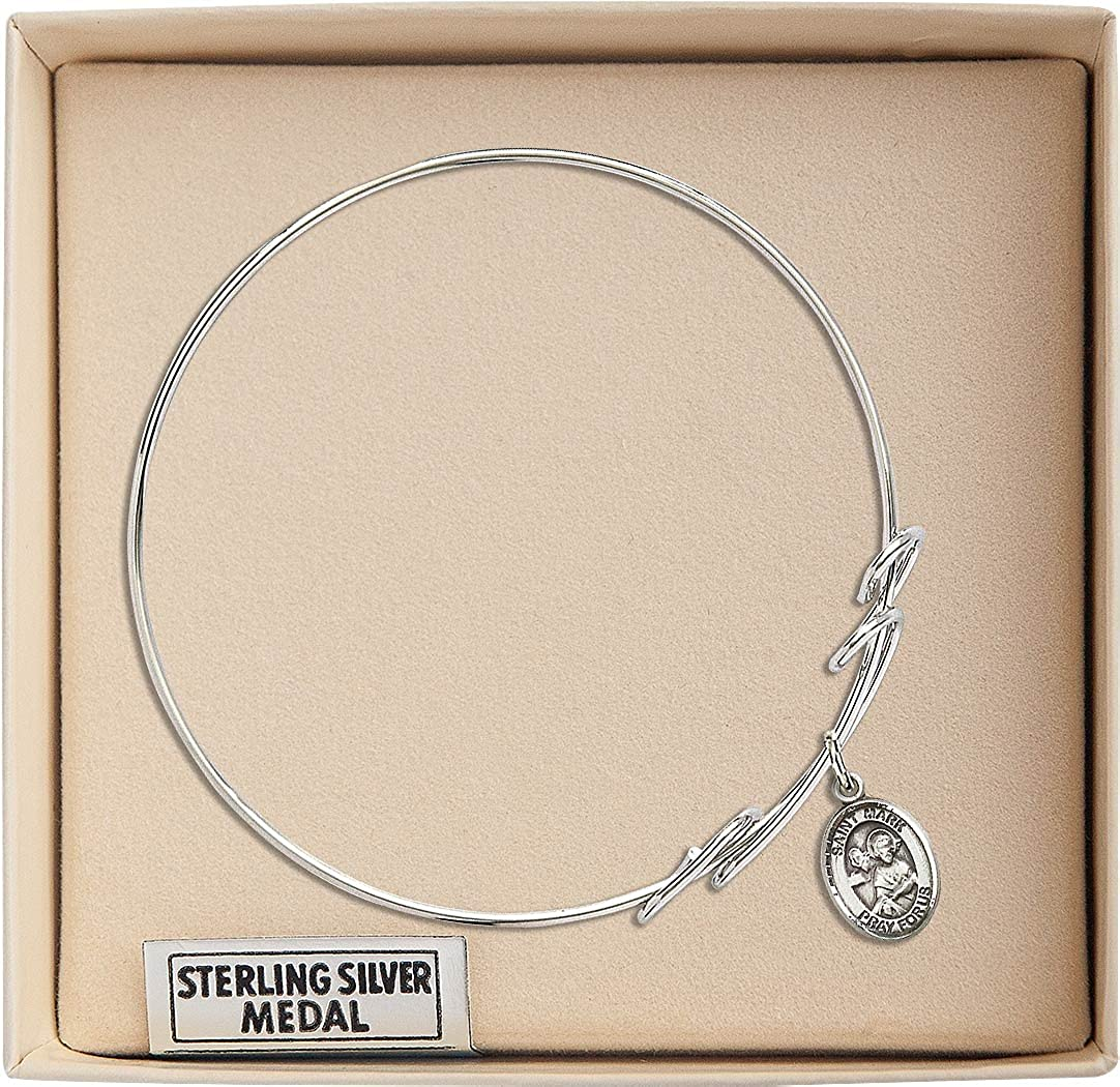 7 1//2 inch Round Double Loop Bangle Bracelet with a St Mark the Evangelist charm.