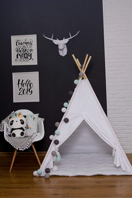 BabyCo Teepee 100/% Cotton Play Tent Teepee Tent Wigwam Playhouse Organic Cotton Teepee Tipi Indian Teepee Monochrome Stripes Teepee Tee Pee Tent for Kids