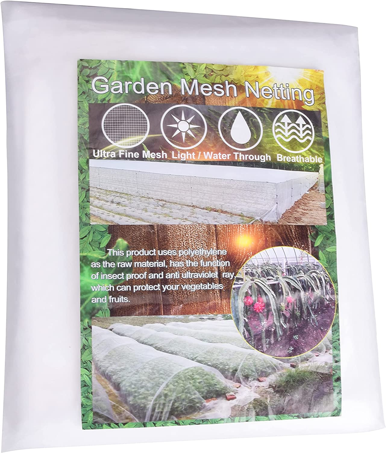 YSBER Garden Netting,10x33FT Plant Covers - Ultra Fine Mesh Protection Netting for Protect Vegetable Plants Fruits Flowers Crops