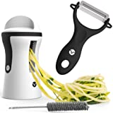 Vremi Spiralizer Vegetable Slicer Set - 3-Blade Handheld Vegetable Noodles and Zucchini Spaghetti Maker - Spiral Slicer Machine with Peeler - Stainless Steel Blade Mandoline Slicer - Black and White