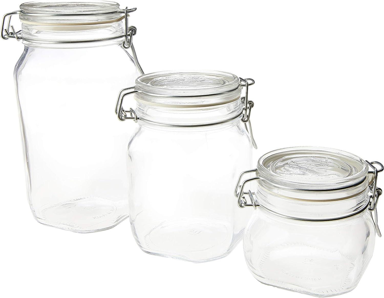 Bormioli Rocco 540637MTV121990 vidrio Transparente Juego de 6 tarros con tapa basculante 17 Ounce