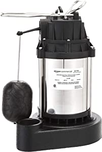 AmazonCommercial 1/3 HP Submersible Sump Pump with Stainless Steel Motor Shell and Cast Iron Base, Mechanical Float Switch