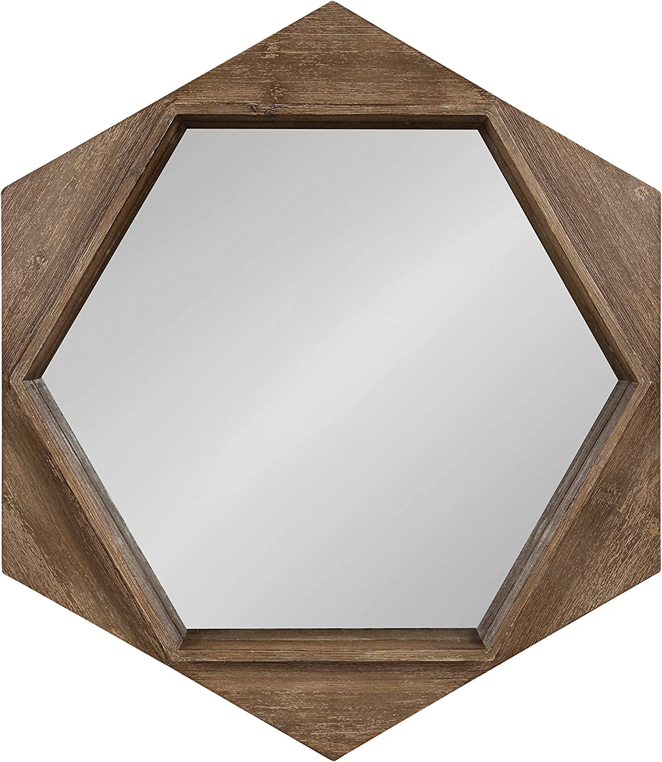 Kate And Laurel Yandel Contemporary Rustic Hexagon Wooden Wall Mirror Distressed Light Brown Kitchen Dining