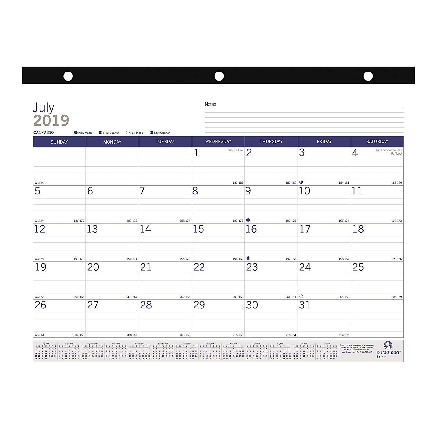 Blueline DuraGlobe Monthly Desk Pad, Academic Desk Calendar, 13-Month, July 2019 to July 2020, 22 x 17 Inches (CA177227-20)