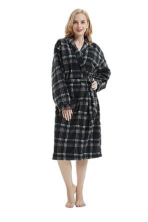 ecdde71575 Womens Fleece Robe Long Bathrobe Man Hotel Spa Plaid Robe Black Plaid M