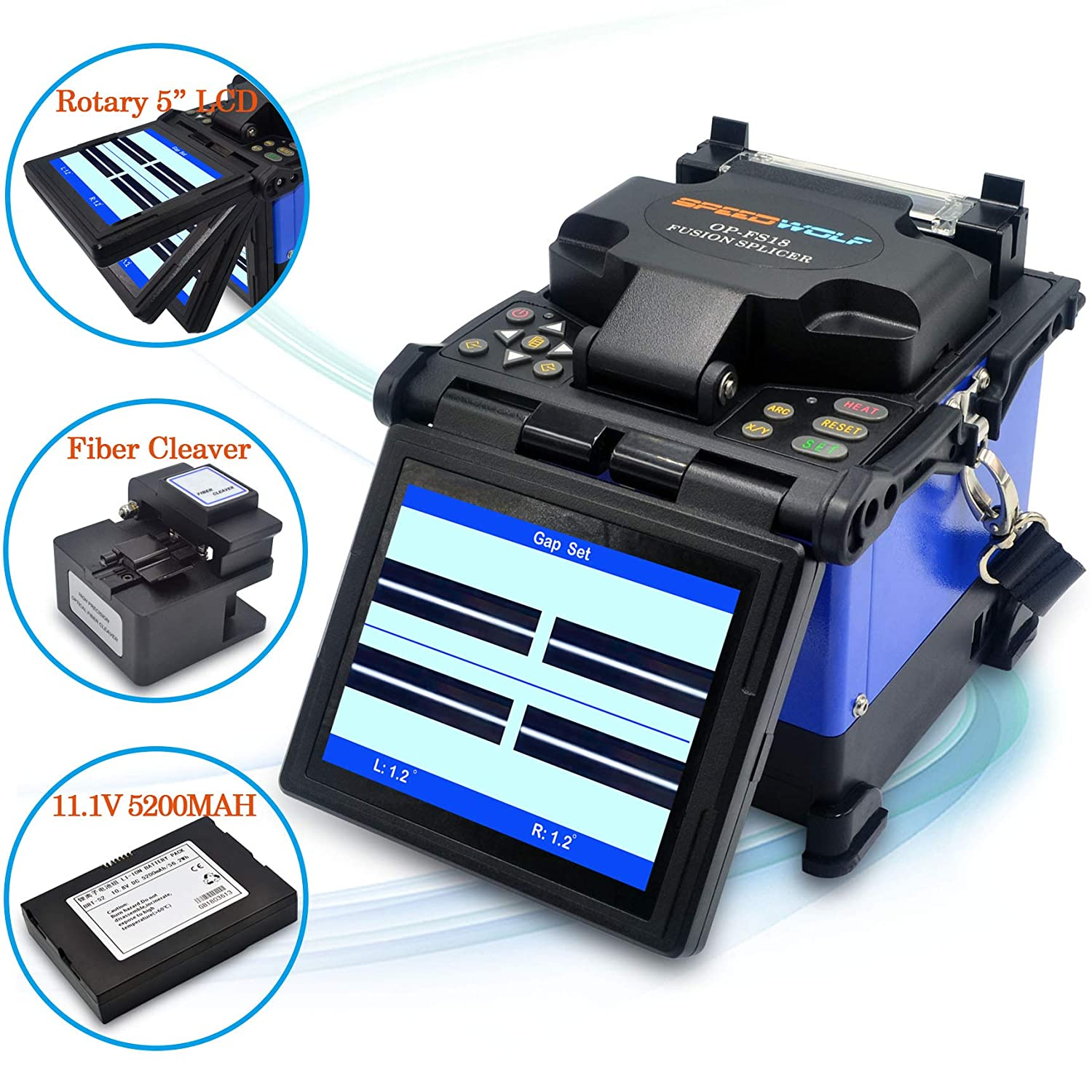 SPEEDWOLF 5' LCD High Precision Fiber Optic Fusion Splicer Machine for SM, MM, NZ-DS, EDF Fibers with Optical Fiber Cleaver and Automatic Focus Function(OP-FS18)
