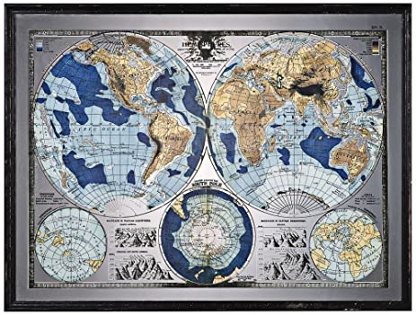 Amazon uttermost 32538 mirrored world map 55 wall art uttermost 32538 mirrored world map 55quot wall art distressed black finish gumiabroncs Image collections