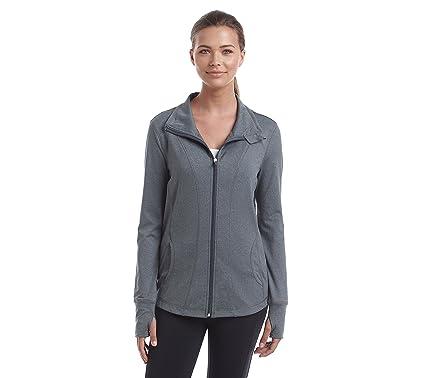 e7ba1d33e9 Exertek Petites' Solid Color Full Zip Jacket Grey Heather Petite Small