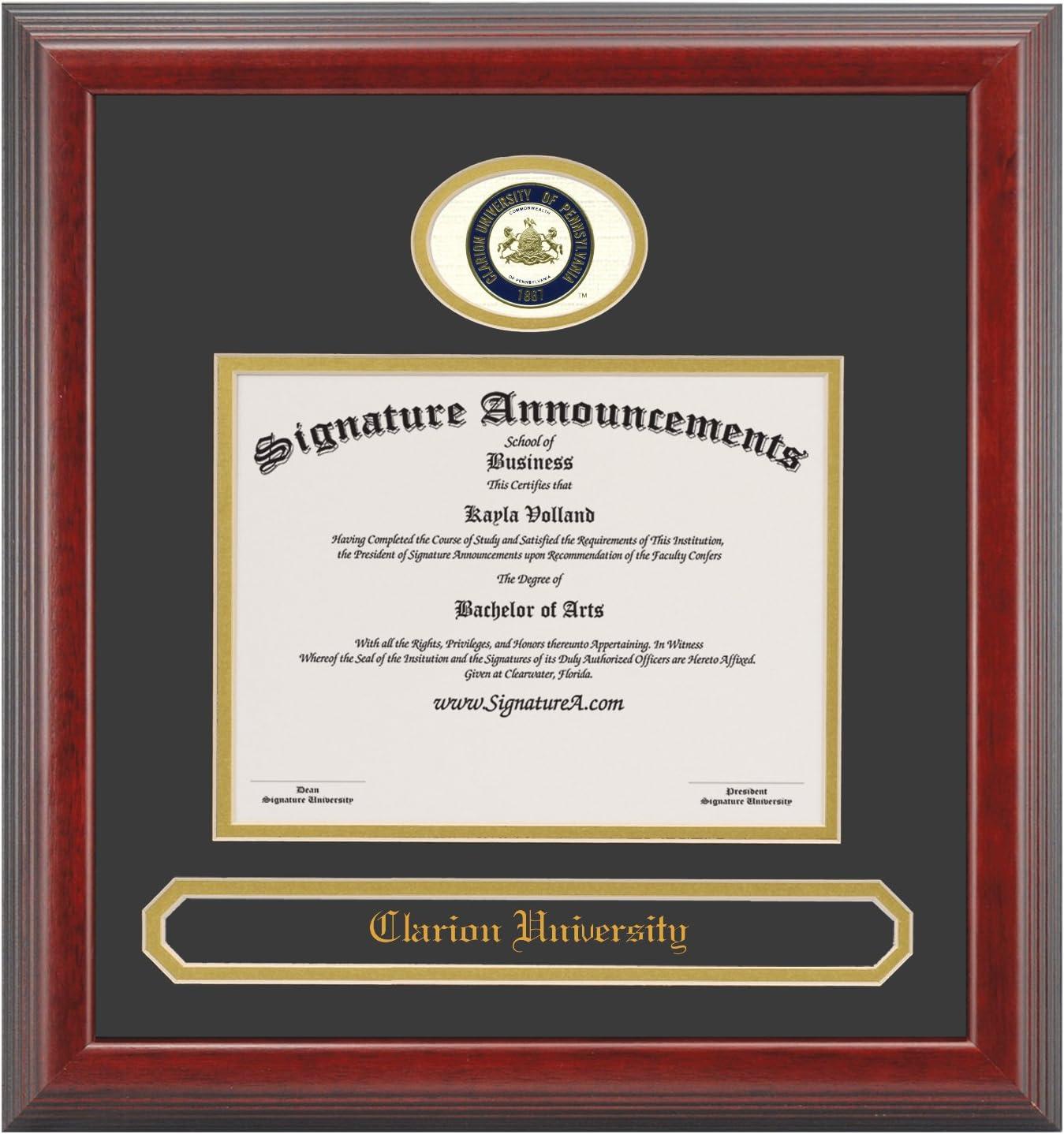 Signature Announcements Clarion-University Undergraduate Professional//Doctor Sculpted Foil Seal /& Name Graduation Diploma Frame 16 x 16 Cherry