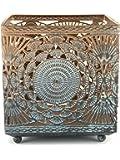 """Orientalisches Windlicht aus Metall """"Banta groß"""" - Türkis mit Übergang zu Gold - mit Goldschimmer - Höhe 11 x Breite 10,5 cm x Tiefe 10,5 cm"""
