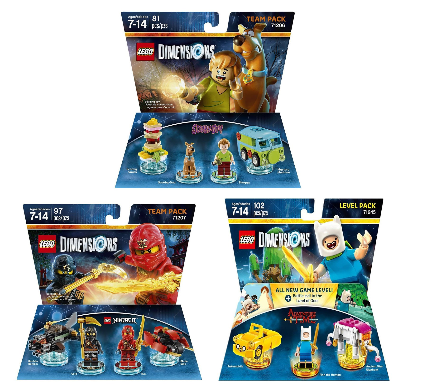 Ninjago Cole & Kai Team Pack + Adventure Time Finn The Human Level Pack + Scooby Doo Team Pack - Lego Dimensions (Non Machine Specific) by WB Lego (Image #1)