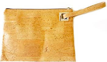 Natural Cork Wristlet Handbag Made in Portugal - Light Cork