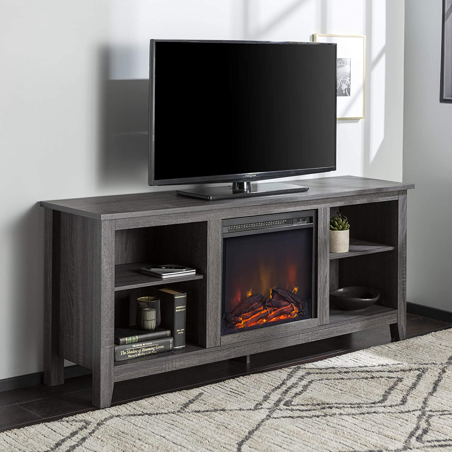 """Walker Edison Minimal Farmhouse Wood Universal Stand for TV's up to 64"""" Flat Screen Living Room Storage Shelves Entertainment Center, 58 Inch, Charcoal"""