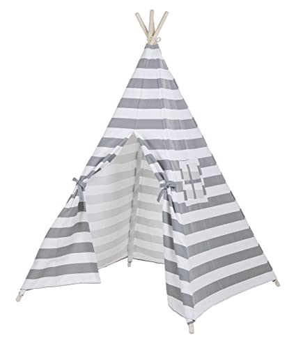 Kids Teepee Portable Play Tent Canvas Playhouse Striping By Lubber (Gray and white)  sc 1 st  Amazon.com & Amazon.com: Kids Teepee Portable Play Tent Canvas Playhouse ...