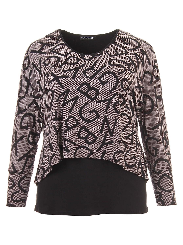 Langarmshirt im Lagen-Look mit Print in grau/schwarz in Übergrößen (42, 44, 50, 52) von Doris Streich