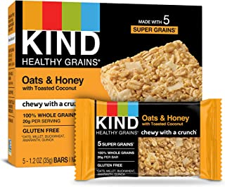product image for KIND Healthy Grains Bars, Oats & Honey with Toasted Coconut, Non GMO, Gluten Free, 5 Count per pack, 6.2 Ounce