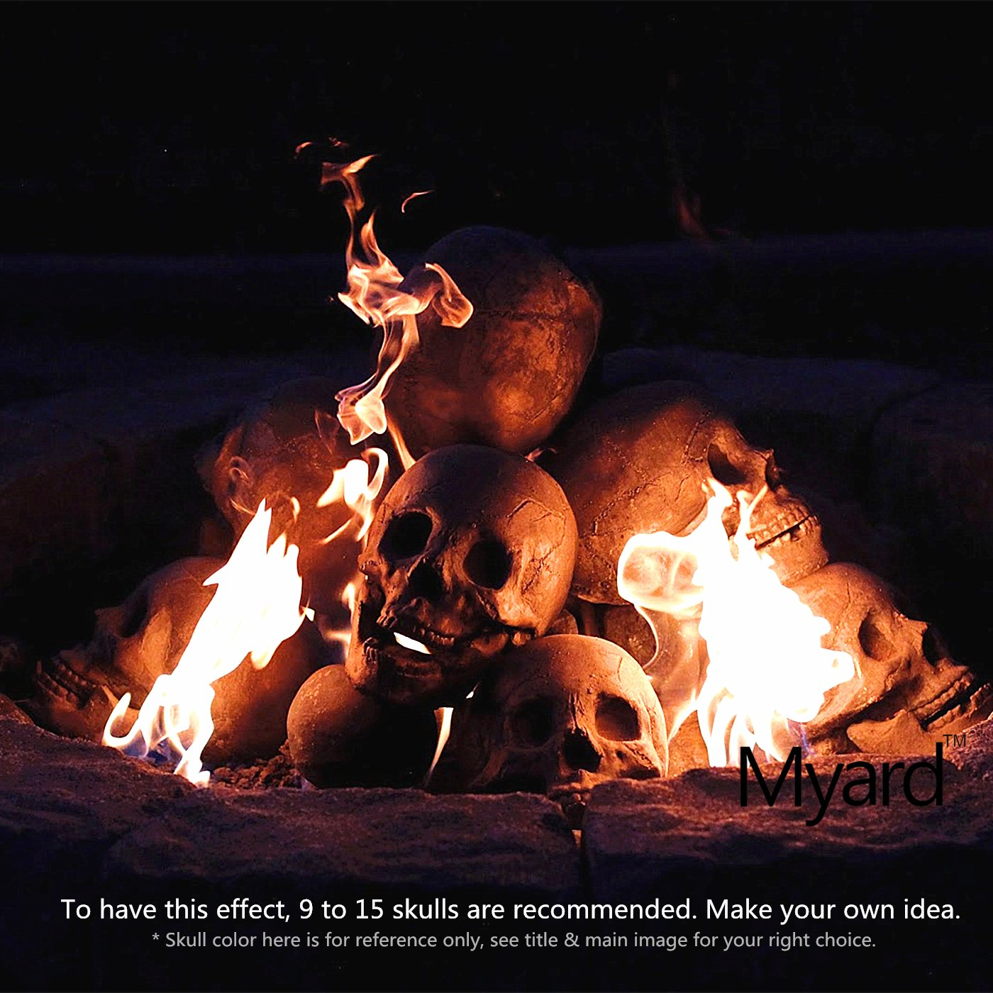 amazon com myard fireproof human fire pit skull gas log for ng