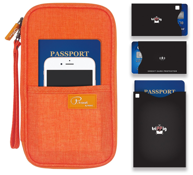 P.travel Passport wallet Linene Orange with RFID Stop