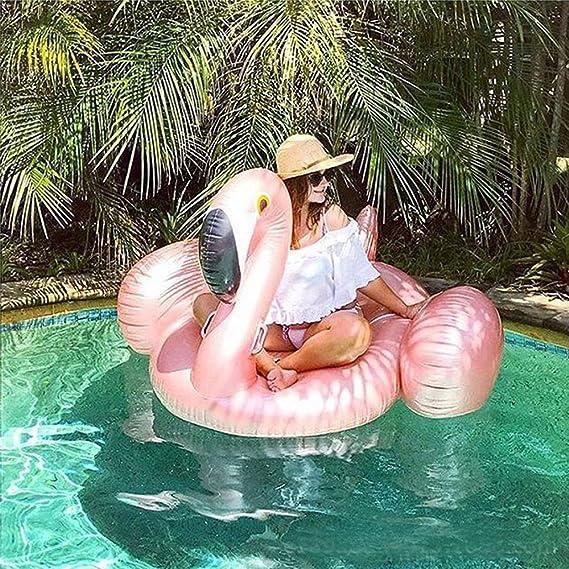 Gigante inflable flamingo piscina flotador rosa de oro nadar anillo flamingo flotar agua juguete para la diversión: Amazon.es: Juguetes y juegos