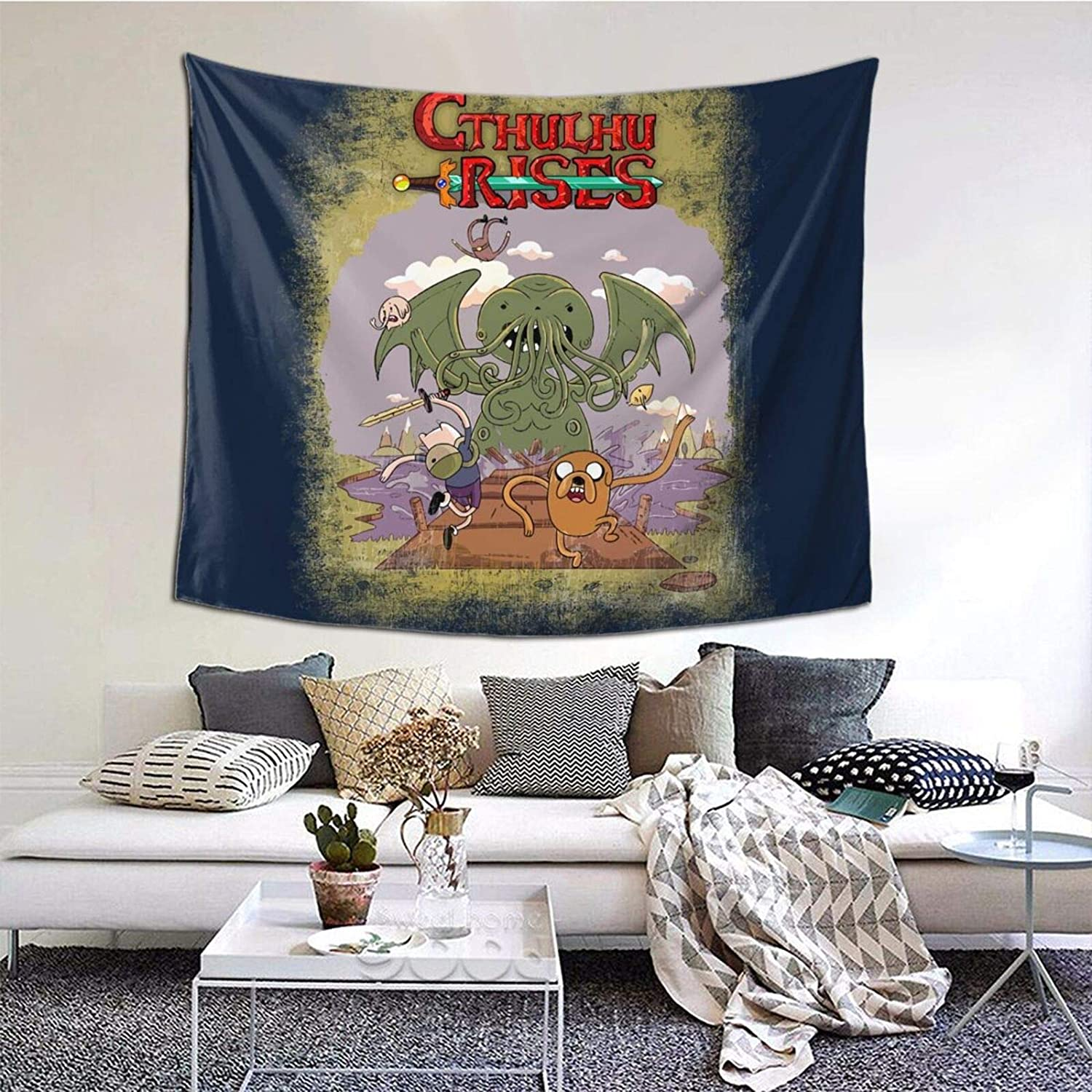 Tapestry Adventure Time H P Lovecraft Cthulhu Rises Wall Tapestry Anime Fans Home Dorm Wall Decor 60x50 Inches