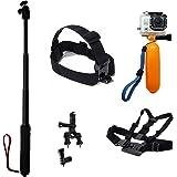 TecTecTec Kit d'accessoires pour caméras d'action: Monopode/Selfie/Perche téléscopique renforcée, Harnais pectoral, Harnais frontal, Fixation barres/vélos, Flotteur