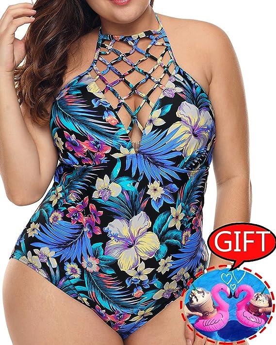 ba2b5674d3be1 Womens Plus Size Swimsuits One Piece Tummy Control Monokini Halter Floral  Printed Vintage Bathing Suit