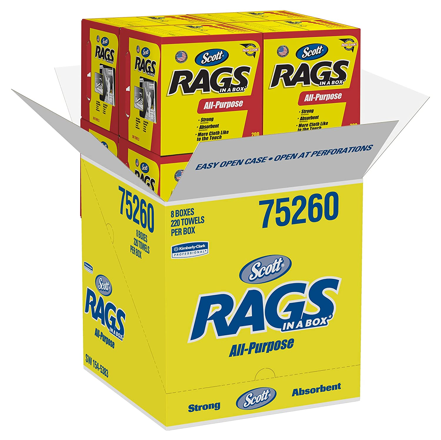 scott rags in a box 75260 white 200 shop towelsbox 8 boxescase paper towels amazoncom industrial scientific - Box Of Rags