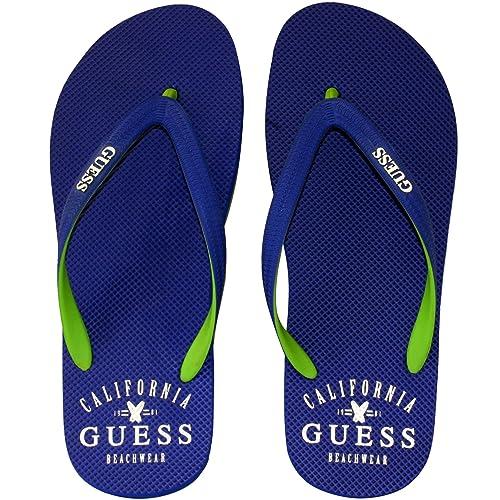 Guess Goma De Logotipo Clásico Ojotas, Azul Real: Amazon.es