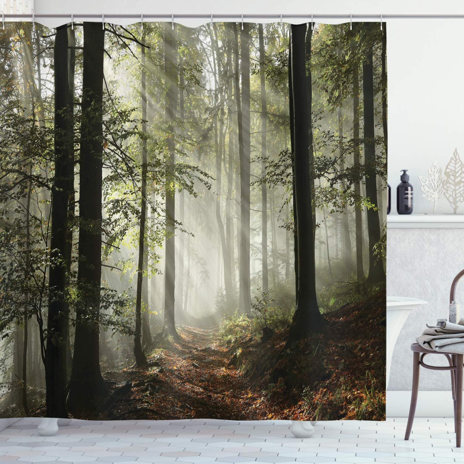 Ambesonne Forest Shower Curtain, Dark Forest Route Surrounded by Fog in The Sunshine Day Time in Mother Earth Image, Cloth Fabric Bathroom Decor Set with Hooks, 75