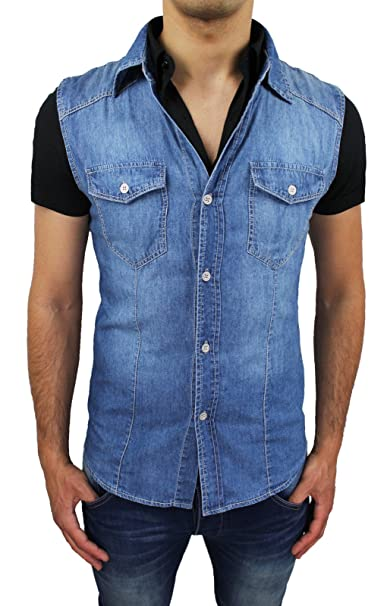 newest 36677 1d9b2 Camicia Jeans uomo slim fit blu denim gilet smanicato casual ...