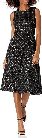 Calvin Klein Womens Sleeveless A-line Belted Midi Dress Sleeveless Dress