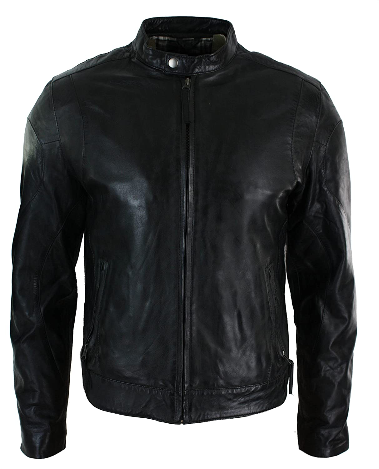 Mens Fitted Funky Retro Style Short Biker Jacket Leather Black Casual