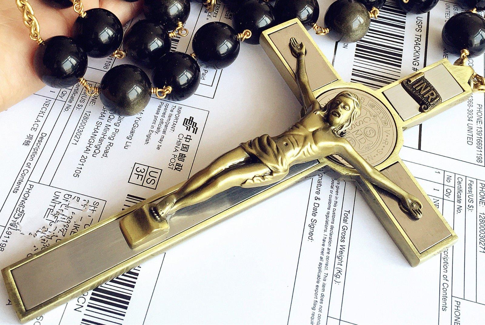 elegantmedical Handmade Large 20MM Black Gold Obsidian Bead Wall Rosary Cross St.Benedict Crucifix Catholic Gift Box by elegantmedical (Image #8)