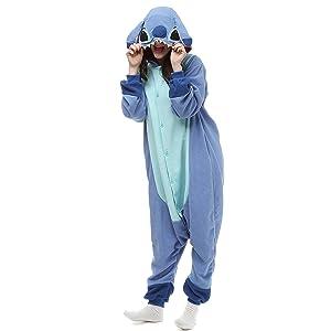 TSMY Halloween Costumes Unisex Adults Kigurumi Lilo & Stitch Onesie The Movie Pajamas Large Blue (Color: Blue, Tamaño: Large)
