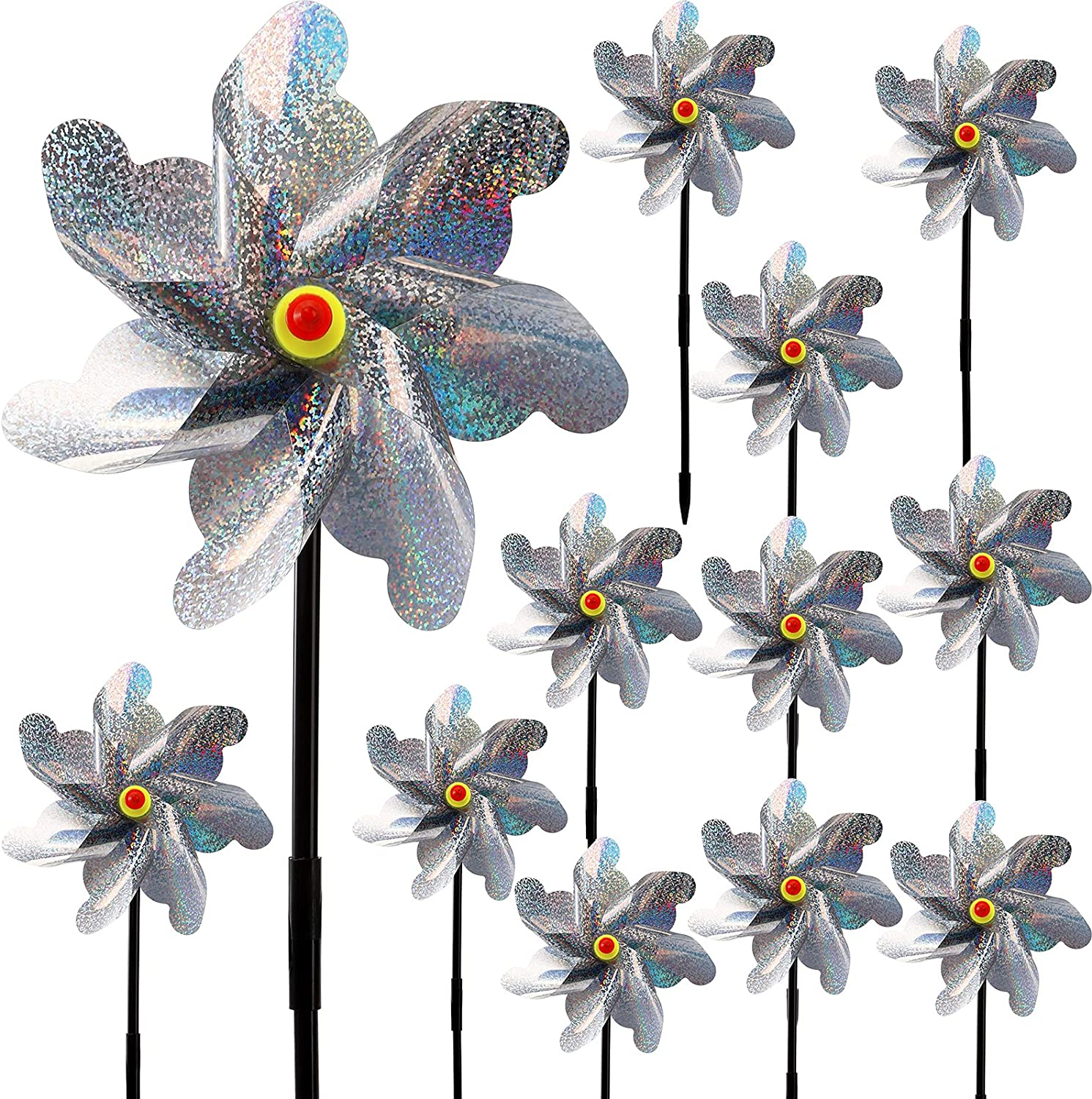 YOUEON 12 Pack Reflective Pinwheels with Stakes, 18 Inch Bird Blinder Repellent Pinwheels, Garden Sparkly Spinners to Scare Birds Away from Yard, Patio, Farm