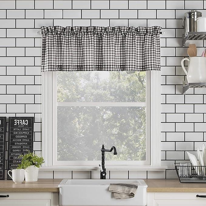 No 918 Parkham Farmhouse Plaid Semi Sheer Rod Pocket Kitchen Curtain Valance 54 X 14 Black White Amazon Ca Home Kitchen